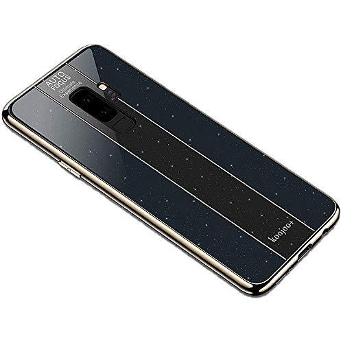 Miagon Überzug Hülle für Galaxy S9 Plus,Glänzend Glitzer Überzug Plating Rahmen Ultra Dünn Hart PC Handyhülle Schutzhülle Tasche Weich Case Bumper für Samsung Galaxy S9 Plus,Schwarz -