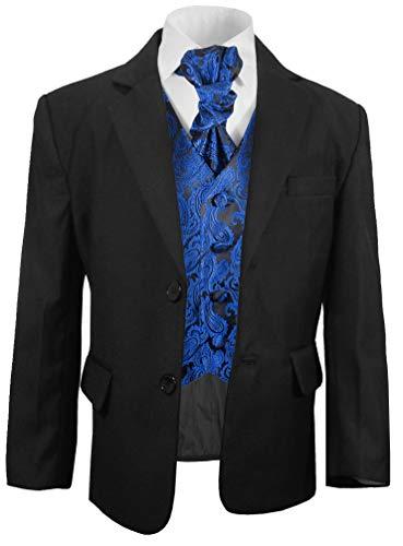 Paul Malone festlicher Jungen Anzug (tailliert) schwarz mit festlichem Westenset schwarz blau Paisley
