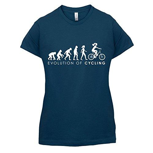 Evolution of Woman - Radfahrerin - Damen T-Shirt - 14 Farben Navy