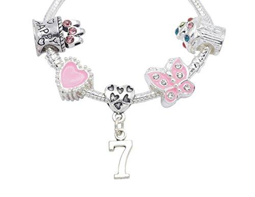 7. Geburtstag versilbert Charm Armband für Mädchen mit Organza-Geschenkbeutel - 2