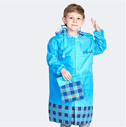 Kinder Regenmantel Kinder niedlich wasserdicht Kind Regen Mantel Abdeckung Poncho Regenbekleidung Kapuze undurchlässig (Color : Blue, Size : XXL)