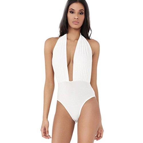 UFACE Räumungsverkauf Damen Halfter Einfarbig Badeanzug Bikini Frauen Tauchen Neckholder Backless Stretch Bodysuit Badebekleidung (L, Weiß) (Stretch-rüschen Halfter Bikini)