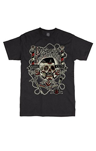 Lucky 13 T-Shirt Barberia Los Muertos Black Schwarz