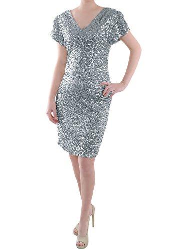 Anna-Kaci Frauen Sparkly Glitzer Pailletten Kurzarm V-Ausschnitt Bodycon Mini club Kleid