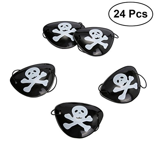TOYMYTOY 24pcs Piraten Augenmaske, Halloween Eye Mask Dress up Requisiten Piraten Brille Tricky Kostüm (Schwarz)