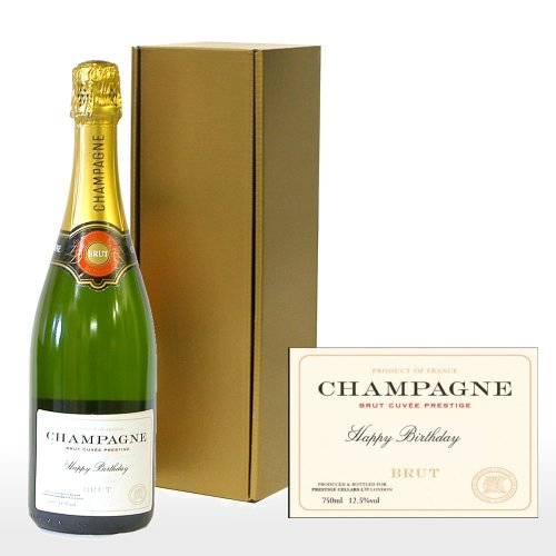 Fine Food Store Personalised Premium Fine Champagne in Gold Gift Box with 'Happy Birthday' on the Label NV 75 cl