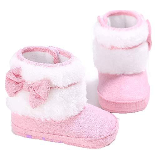 gsjungen-Mädchen Stricken Woolen warme Schnee-Stiefel-Schuhe (12-18 Months, Rosa B) ()