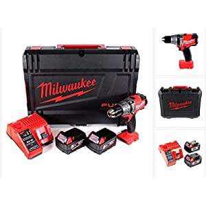 Milwaukee M18 FPD-502C Akku Schlagbohrschrauber 135 Nm im HD System Koffer mit 2x M18 B5 5,0 Ah Akku und M12-18C…