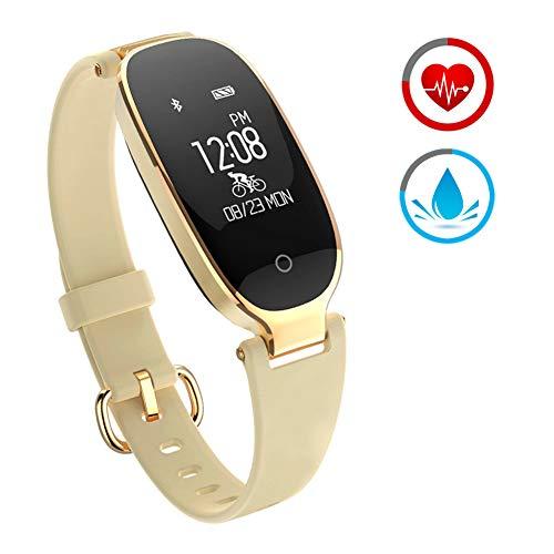 ZKCREATION Reloj Inteligente Mujer Fitness Tracker K3 Bluetooth Smartwatch Pulsera Inteligentes Actividad Monitor Cardio Podómetro IP67 Impermeable Monitor de Sueño Compatible con Android y iOS(Oro)
