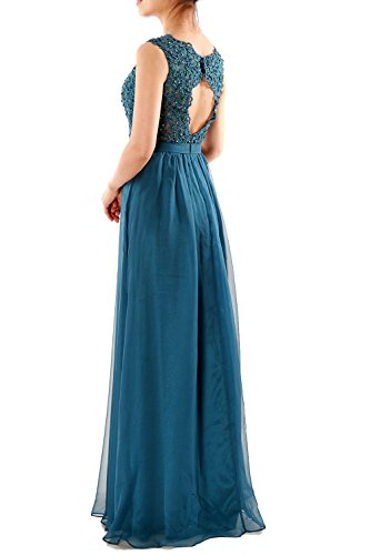 MACloth Women V Neck Lace Chiffon Long Prom Dresses Formal Party Evening Gown white