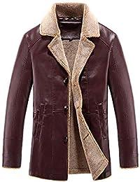 Herren Warme Lederjacke Freizeitjacke Leder Jacke Mantel Langarm Revers  Classic Button Vordertaschen Kunstlederjacke Outerwear… b90971ff06