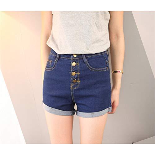 DAIDAICDK Hohe Taille Frauen Shorts Jeans Sommer Baumwolle Button-Fly Feste Blau Weibliche Beiläufige Kurze Hosen - Button-fly Baumwolle Rock