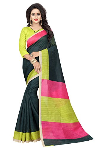 J B Fashion Women's Silk Black and Pink Saree With Blouse Piece
