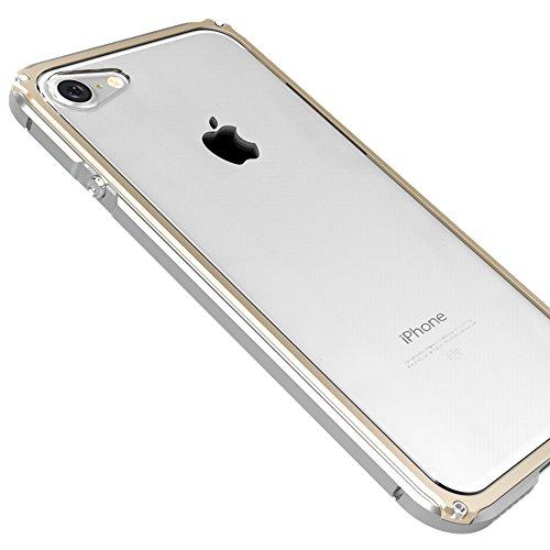 """iPhone 7 4.7"""" Coque ,SHANGRUN Aluminium Metal Frame Bumper Coque + Transparent PC Matériel Protictive Couvercle housse Etui Protection Case pour iPhone 7 4.7"""" Noir Argenté Doré"""
