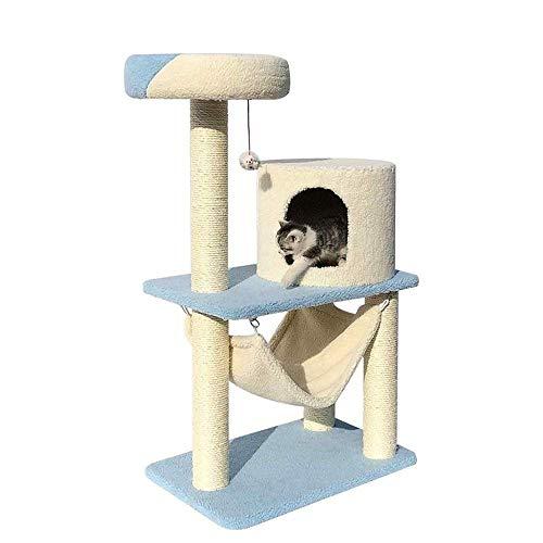 HUJPI Katzen Baum, Katzen Turm Sisal Katzen Kratzbaum Katzen kratzbaum Katzen Kletterturm Katzen Spielzeug Katzen möbel Cat Spielturm Activity Center,Beige_60* 40 * 140cm