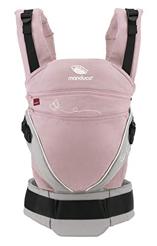 manduca XT All-In-One Babytrage > LimitedEdition Butterfly Rose < Babytrage für Neugeborene mit verstellbarem Steg, One Size, Bio-Baumwolle, mitwachsend für Babys und Kinder ab 3,5-20kg (rosa/grau)
