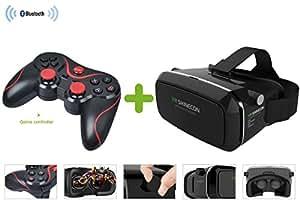 VIIVRIA ® 【2015 derniers modèles】Réalité 3D IMAX VR BOX Lunettes Vidéo ,Monter la tête version en plastique de la 3D jeu de cinéma 3.5-6 pouces téléphone.Jeux 3D Google carton,Contrôleur de jeu Bluetooth