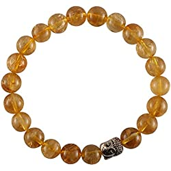 Aatm Reiki Energized Gift natural gemstone 7-8mm Round Beads Buddha beaded Citrine Crystal Gemstone Chakra Stretch Bracelet Unisex For Healing (Stone of success, abundance; power, emotional problems)