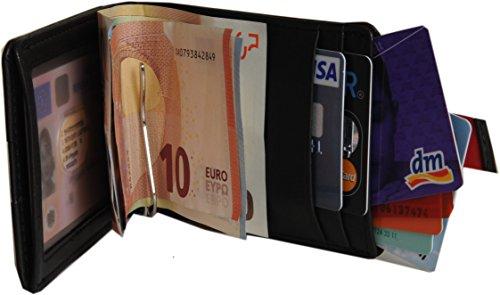 JACCS ® Kreditkartenetui mit Klammer für bis zu 12 Karten: Brieftasche mit Kartenetui, Ausweistasche, Portemonnaie mit Spange, Geldbeutel mit Geldklammer, Portmonee mit Clip, Geldtasche, Geldbörse