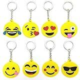 MLIAN 8Pcs Emoji Porte-Clés en Silicone Design Pendentif pour Décorations Enfants...