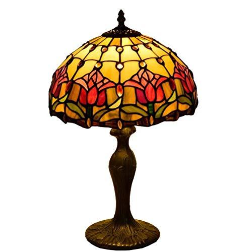 AIBOTY 12 Zoll Rote Tulpe Tiffany Stil Schreibtischlampe Farbe Glas Tischlampen für Wohnzimmer Schlafzimmer Schreibtisch Restaurant Clubhouse Hotel Nachtlicht 30 cm