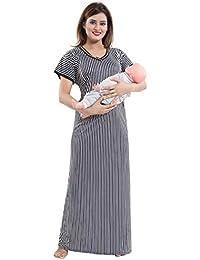 103ccb2a66b TUCUTE Women's Beautiful Print with Invisible Zip Feeding/Maternity/Nursing  Nighty/Nightwear.