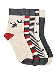 VINENZIA 5 Pair cotton designer ankle length unisex socks