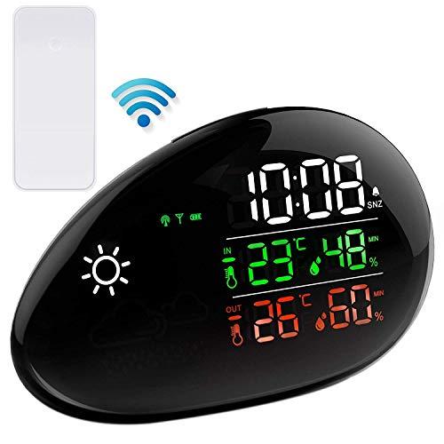 TinMiu Wetterstation Innen und Außenthermometer Luftfeuchtigkeit und Temperatur Monitor Wettervorhersage Wecker und Schlummerfunktion Wireless Station -