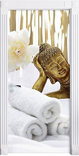 Stil.Zeit Möbel Goldener Buddha auf Handtuch als Türtapete, Format: 200x90cm, Türbild, Türaufkleber, Tür Deko, Türsticker