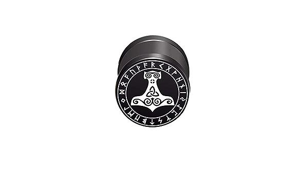 BlackAmazement Boucles doreille /à Tige en Acier Inoxydable 316L Motif Marteau de Thor 10 mm Noir