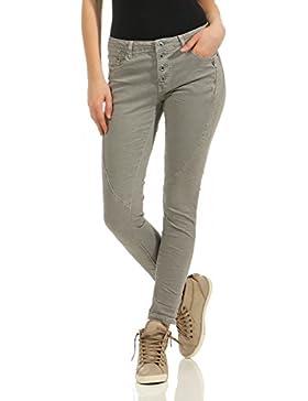 ZARMEXX Mujeres Chino pantalones de mezclilla pantalones elásticos pantalones anchos señoras flacas con botón...