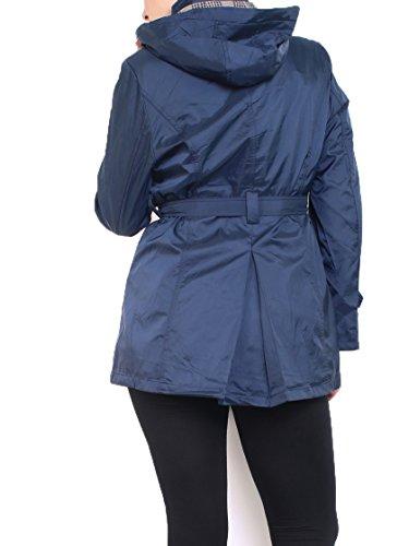 Miss Rouge : Manteau imperméable,noir, grande taille,trench,taille jusqu'à 48 Bleu Marine