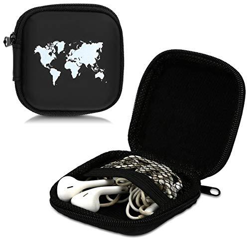 kwmobile Tasche für In-Ear Kopfhörer - Case Hardcase Schutztasche Earphone Cover Schutzhülle - Headphone Etui Weltkarte Umriss Design - 3