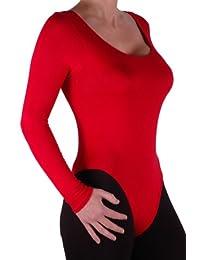 EyeCatch Basics - Damen Body Langarm Bodysuit Bodywear Gymnastikanzug Rundem Halsausschnitt Top