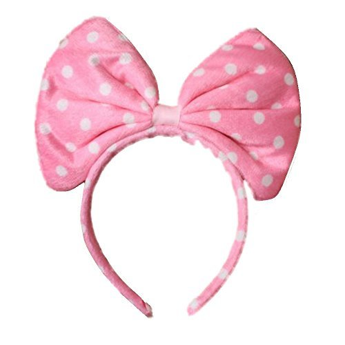 Oversized Soft Fabric Pink Spot Bow Alice Hair Band Headband Fancy Dress Party Hen by Pritties Accessories - Oversized Bow
