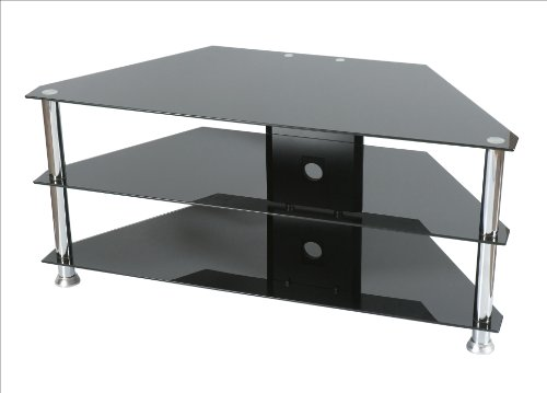 Levv Glass Stand Up to 50-inch with Chrome Legs For Plasma/LCD TV - Black