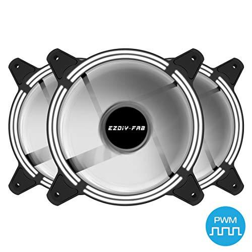 EZDIY-FAB 120mm PWM Lüfter mit weißer LED, Dual-Frame LED Gehäuselüfter für PC-Gehäuse, hohe Geräuschentwicklung, CPU-Kühler,4-Pin-3-Pack