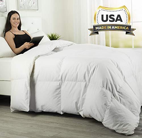 ComfyDown Luxuriöser Schmusetuch - 800 Füllung, Gänsedaunen, Fadenzahl 600, Baumwolle, Twin weiß - Navy King California Quilt