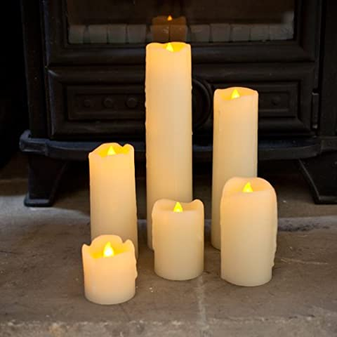Set of 6 Skinny Real Wax Battery Operated LED Candles by Lights4fun