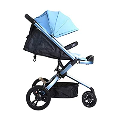 RUMIAO Baby Tricycle, Toddlers Three-wheeled Pushchair High Landscape, Half Awning, 0 Months - 3 Years Old, Adjustable Backrest Angle Stroller,Blue