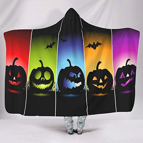Wandlovers - coperta morbida con cappuccio, per vacanze, halloween, zucche, pipistrelli, stampa artistica, calda, invernale, in peluche, con cappuccio, bianco, 130x150cm
