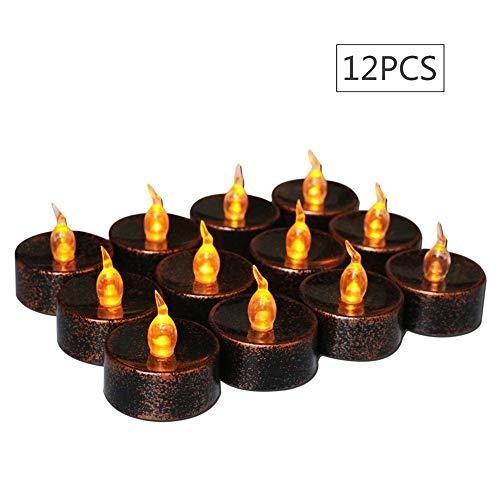 Kostüm Kleine Vogelscheuche - CXVBVNGHDF Halloween Dekoration Elektronische Kerze, Schwarzer Boden Gelb Glitter Kunststoff Licht Kleine Tee Wachs, LED Kerze, 12 STÜCKE