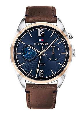 Tommy Hilfiger Reloj Multiesfera para Hombre de Cuarzo con Correa en Cuero 1791549