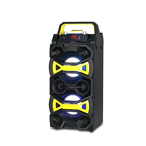 Altavoz Bluetooth Portatil Trolley con Efecto de Luces Laser, Bluetooth Speaker con MP3, USB y Mando a Distancia. Altavoz Karaoke con Micrófono Lauson SS-309 con Bateria Recargable y Radio Integrada