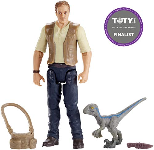 Jurassic World Figura básica Owen con dinosaurio de juguete...