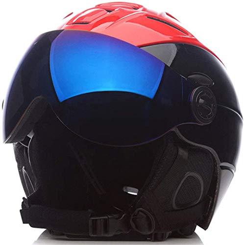 FERFERFERWON Snowboardhelm Mann/Frau/Kinder Ski Helm/Brille Maske Winter Snowboard Helm Ski/Schlitten Schneemobil Moto Skateboard Sport Sicherheit (Farbe : Red, Größe : Large) -