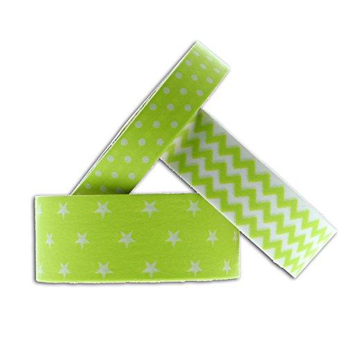Unbekannt Toga MT903Masking Tape Sterne Chevron Gepunktet Washi-Tape, anisgrün, 6,5 x 9 x 5 cm