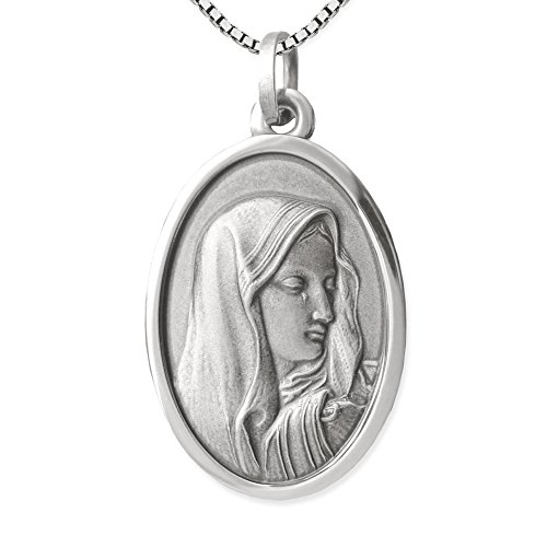 Clever Schmuck Set Silberner Anhänger oval 22 mm Heilige Madonna Maria Dolorosa antik geschwärzt mit Kette Venezia 45 cm STERLING SILBER 925 im Etui