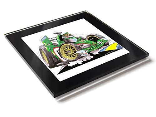 Koolart F1 Fórmula 1 Eddie Irvine Jaguar - Posavasos de cristal con caja de regalo