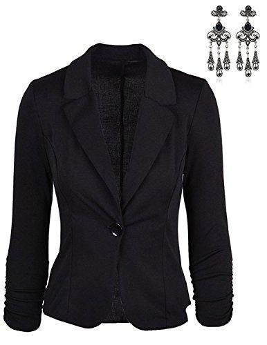 MODETREND Damen Blazer Tailliert Kurz Elegante Langarm Slim Business Anzug Casual Einreihig Kurzblazer Mantel Jacke Oberteil Schwarz XL (Jacke Sport Blazer Schwarz Mantel)